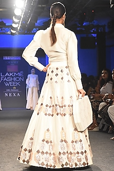 White Embroidered Lehenga Skirt With Shirt by Pink Peacock Couture