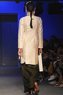 Cream Embroidered Jacket With Pleated Dhoti Pants by Pink Peacock Couture