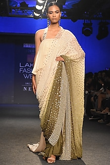 Cream To Olive Green Ombre Embroidered Saree Set by Pink Peacock Couture