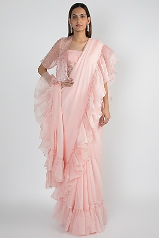 Baby Pink Ruffled Saree Set With Embroidered Jacket by Pink Peacock Couture