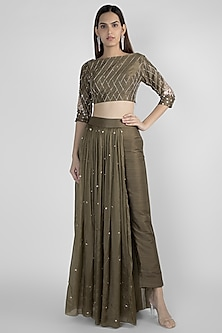 Olive Green Embroidered Crop Top With Pant Skirt by Pink Peacock Couture