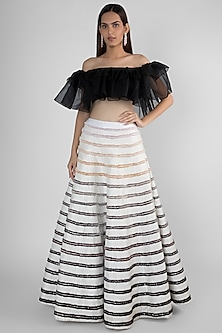 White Embroidered Skirt With Off Shoulder Ruffled Top by Pink Peacock Couture-SHOP BY STYLE