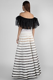 White Embroidered Skirt With Off Shoulder Ruffled Top by Pink Peacock Couture