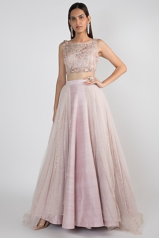 Lilac Embroidered Lehenga Skirt With Tie-Up Blouse by Pink Peacock Couture