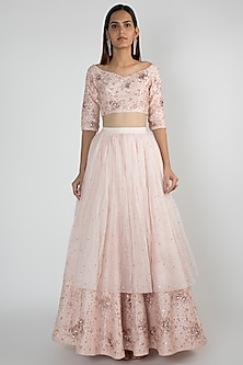 Peach Pink Embroidered Lehenga Skirt With Blouse by Pink Peacock Couture
