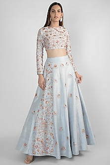 Powder Blue Embroidered Lehenga Skirt With Crop Top by Pink Peacock Couture-SHOP BY STYLE