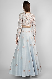 Powder Blue Embroidered Lehenga Skirt With Crop Top by Pink Peacock Couture