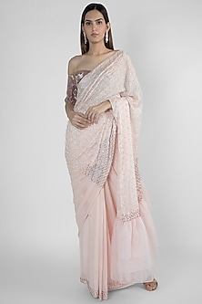 Pink Embroidered Saree Set by Pink Peacock Couture