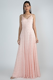 Peach Pink Embroidered Gown by Pink Peacock Couture