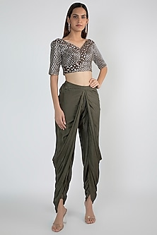 Olive Green Embroidered Crop Top With Dhoti Pants by Pink Peacock Couture