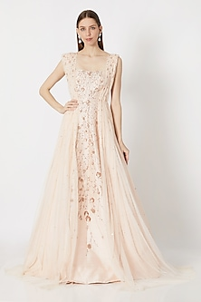 Peach Pink Embroidered Draped Gown by Pink Peacock Couture