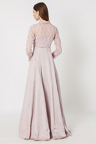 Lilac Geometric Embroidered Gown by Pink Peacock Couture
