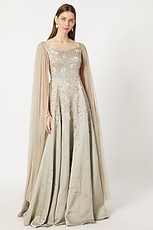 Olive Green Embroidered Net Gown by Pink Peacock Couture