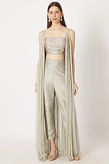 Olive Green Embroidered Bustier With Pants & Jacket by Pink Peacock Couture-SHOP BY STYLE