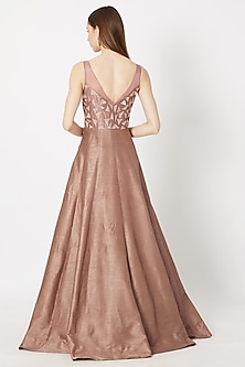 Biscuit Brown Embroidered Sleeveless Gown by Pink Peacock Couture