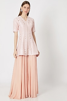 Peach Embroidered Sharara Pants With Tunic by Pink Peacock Couture