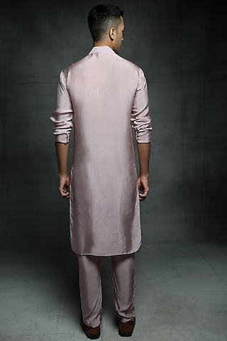 Dusted Lilac Embroidered Kurta Set by Pink Peacock Couture Men