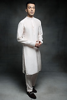 Off White Embroidered Kurta Set by Pink Peacock Couture Men