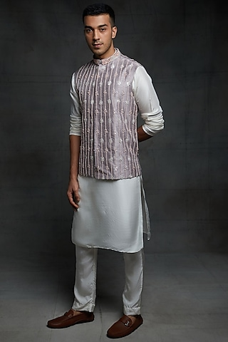 Off White Embroidered Kurta Set With Jacket by Pink Peacock Couture Men