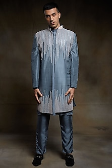 Grey Embroidered Jacket Set by Pink Peacock Couture Men-PINK PEACOCK COUTURE MEN