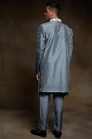 Grey Embroidered Jacket Set by Pink Peacock Couture Men