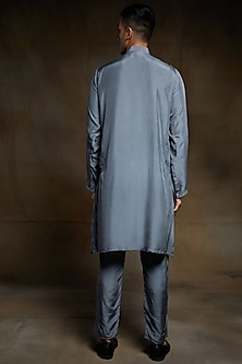 Grey Embroidered Kurta Set by Pink Peacock Couture Men