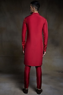 Crimson Embroidered Kurta Set by Pink Peacock Couture Men