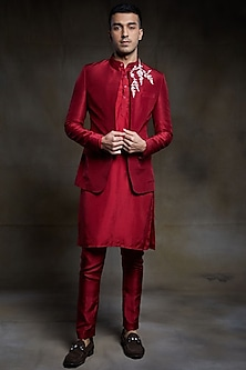Crimson Embroidered Jacket Set by Pink Peacock Couture Men-PINK PEACOCK COUTURE MEN