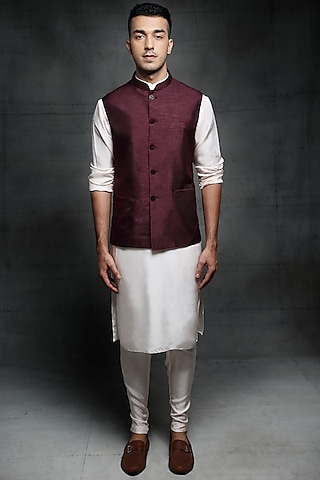 Baby Pink & Wine Embroidered Bundi Jacket Set by Pink Peacock Couture Men