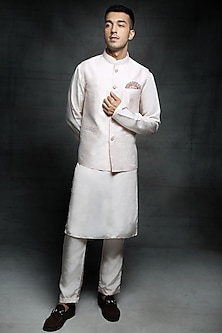 Baby Pink Embroidered Bundi Jacket Set by Pink Peacock Couture Men