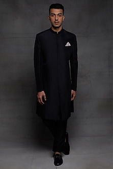 Black Embroidered Sherwani Set by Pink Peacock Couture Men-PINK PEACOCK COUTURE MEN