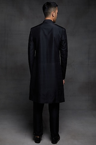 Black Embroidered Sherwani Set by Pink Peacock Couture Men