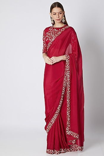 Red Embroidered Saree Set by Pink Peacock Couture