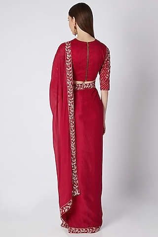 Pinkish Red Embroidered Saree Set  by Pink Peacock Couture