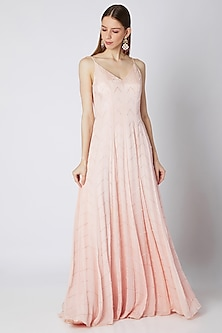 Peach Embroidered Sleeveless Gown by Pink Peacock Couture