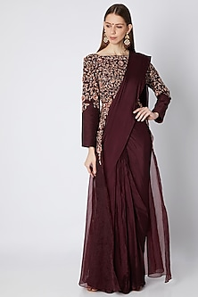 Burgundy Organza Saree Set by Pink Peacock Couture
