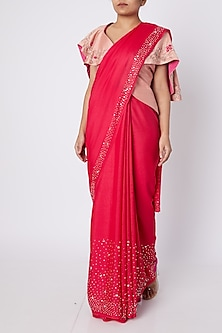 Red & Peach Embellished Saree Set by Pink Peacock Couture