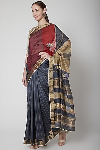 Blue & Red Zari Embroidered Saree Set by Prama by Pratima Pandey