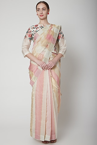 Pink Embroidered & Striped Saree Set by Prama by Pratima Pandey