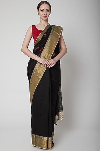 Black & Red Embroidered Saree Set by Prama by Pratima Pandey