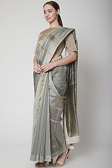 Grey & Gold Embroidered Saree Set by Prama by Pratima Pandey