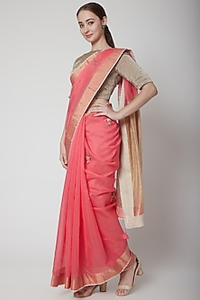 Pink & Gold Embroidered Saree Set by Prama by Pratima Pandey