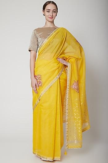 Yellow & Gold Embroidered Saree Set by Prama by Pratima Pandey