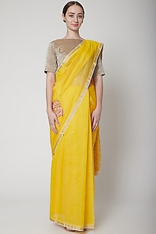 Yellow & Gold Embroidered Saree Set by Prama by Pratima Pandey