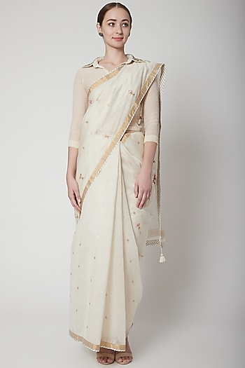 Ivory Zardosi Embroidered Saree Set by Prama by Pratima Pandey