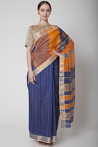 Blue & Orange Saree Set With Floral Motifs by Prama by Pratima Pandey