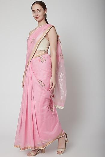Pink & White Embroidered Saree Set by Prama by Pratima Pandey