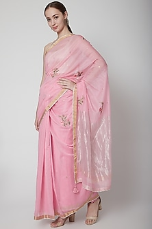 Pink & White Embroidered Saree Set by Prama by Pratima Pandey