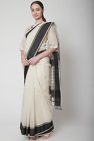 Black & White Embroidered Saree Set by Prama by Pratima Pandey