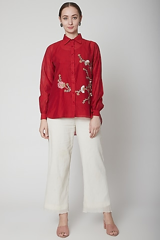 Red Embroidered Shirt With White Pants by Prama by Pratima Pandey